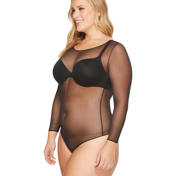 33627801fc SPANX Tops | Sheer Mesh Thong Bodysuit In Black 1x | Poshmark